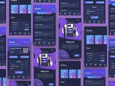 Oasis '19 Android App app design dark blue dark mode dark theme noir neon purple ui dark ui android app design dark app dark app android