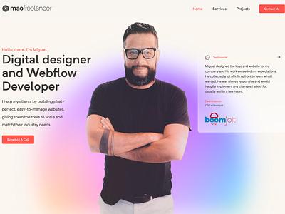 mao freelancer - portfolio redesign website identity ux design clean typography branding ui product design seo website design webflow webdesign figma