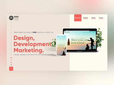 Hero Design for maodesignstudio.com ios brand website minimal logo illustration web webflow typography ui ux illustrator identity front end design flat design clean branding art adobe xd