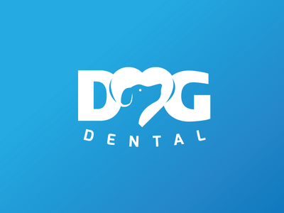 Dog Dental typeography branding logo dog icon health dental negative space