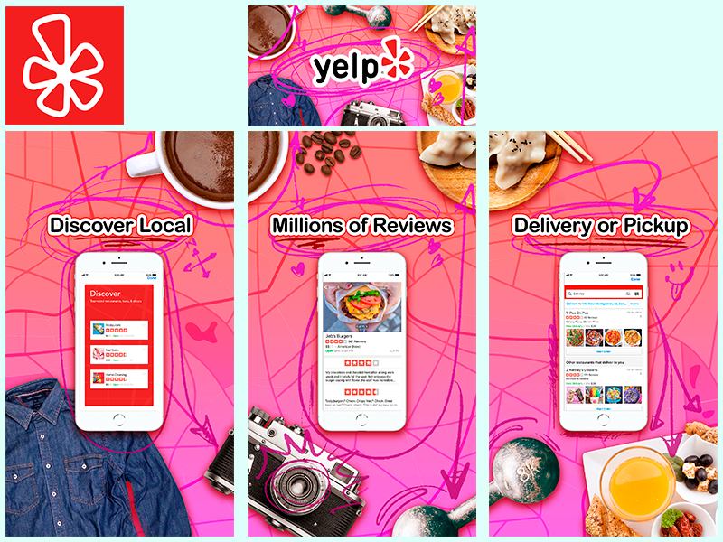Yelp App Store Optimization Mockup aso design marketing ui ux ios seo app store interface iphone app apps