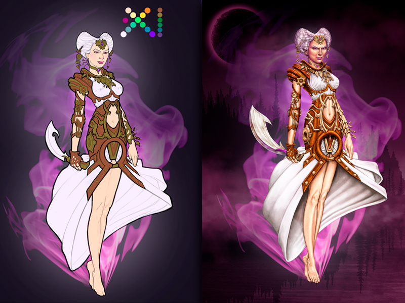 Perchta Character Design steampunk photoshop concept art slot gambling digital painting illustration character design game casino