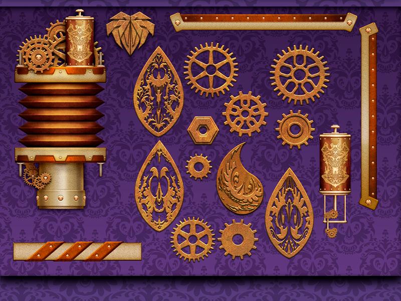 Steampunk UI elemtents icon design casino game illustration gambling slot user interface buttons ui photoshop steampunk