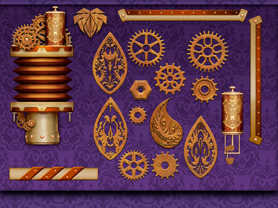 Steampunk UI elemtents icon design casino game illustration gambling slot user interface buttons ui photoshop steampunk