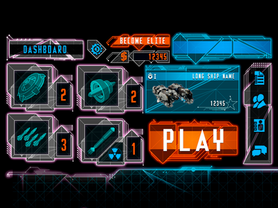 AAA Futuristic UI Kit ui ux user interface illustrator photoshop gui game future console