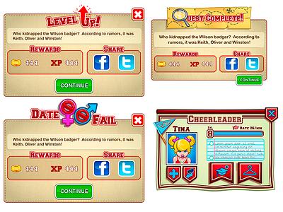 Game Modal Pop-Ups ui ux user interface illustrator photoshop cartoon gui game mobile iphone
