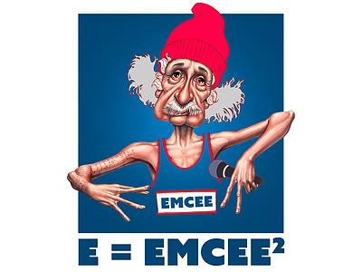 Hip Hop Einstein editorial caricature illustrator photoshop drawing mixed media illustration