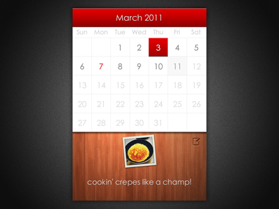 Pic of the Day iphone calendar wood red
