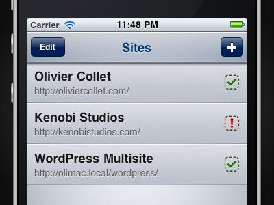 Multiple Sites iphone app list accounts status pictos