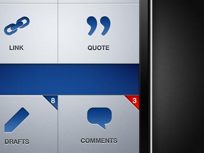 Express - Home Screen iphone app blue grey buttons badge