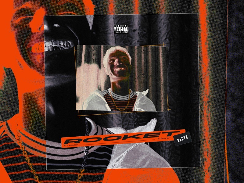 """Concept cover art for Rocket """"Trap day """" ⛓️⛓️ album cover dribbble textures print covers 4 type illustraion graphic design texture halftone orange trap rocket cover artwork cover design cover art cover"""
