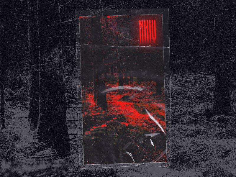 NKIIII dark forrest 🩸🩸🩸🩸 horror art horror textures photoshop card design card red cover artwork covers graphic illustration dark forrest design dribbble print cover design cover art cover texture