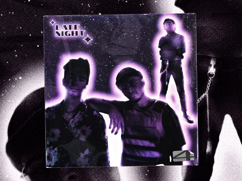 Tawfeeq Francke x Tyler x Rivers x Tobias - Late night ✨✨✨✨ graphicdesign cd packaging cd artwork halftone album art cd cover textured violet late night late album cover texture print concept cover artwork dribbble covers cover design cover art cover