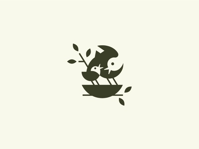 Springtime negative space negative leave nature animal bloom nest tree line design bird illustration green spring love happy