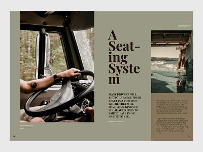 Spread Study truck spread layout design magazine layout typography design editorial print