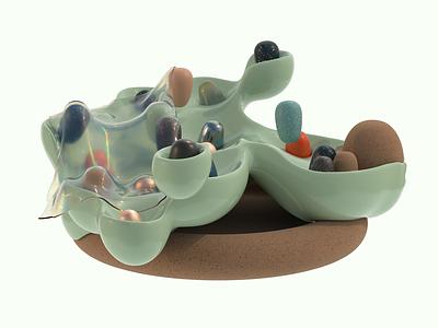 center piece grain clone animation texture illustration iridescent design cinema 4d c4d 3d