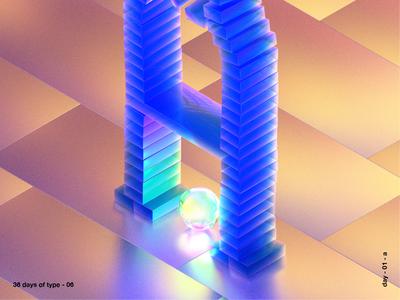 36 days of type a texture iridescent illustration design cinema 4d c4d 3d