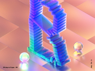36 days of type b texture iridescent illustration design cinema 4d c4d 3d