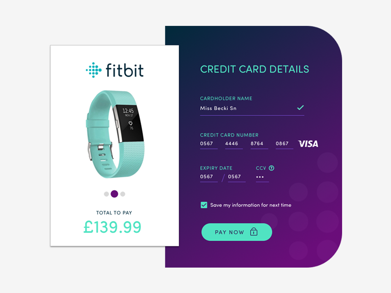 Daily Ui #002 Checkout Payment 002 dailyui 002 dailyuichallenge checkout fitbit ui design creditcard