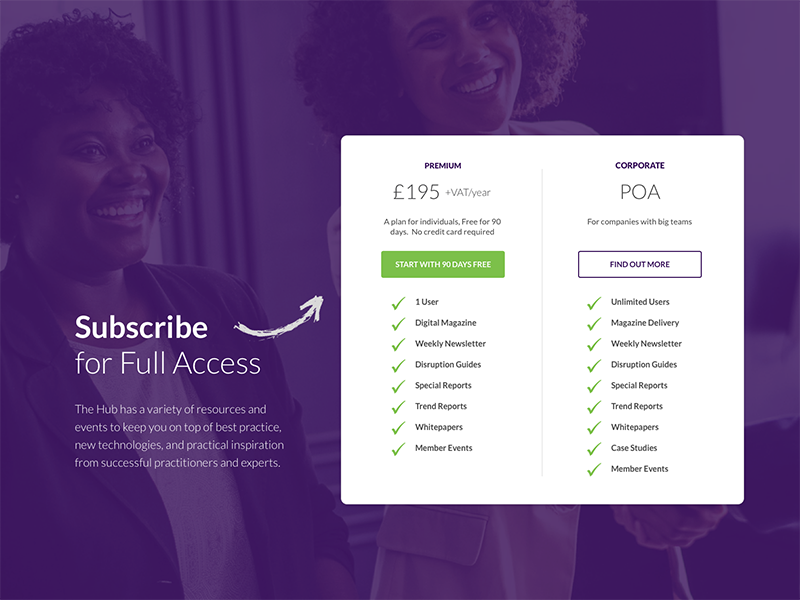 Subscribe table experiment website ui subscribe up sign pricing table member page landing design
