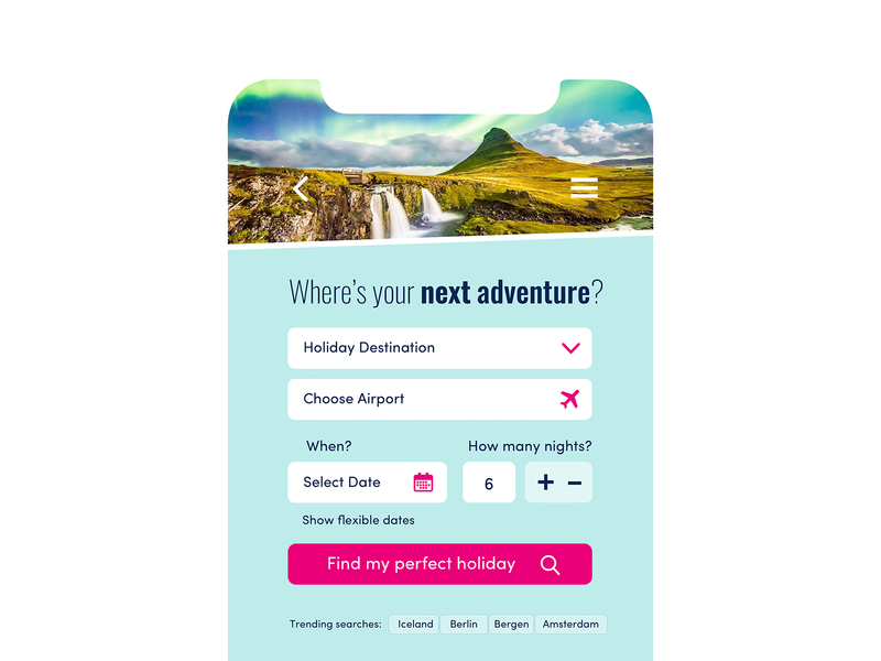 Where's your next adventure? - Search Bar #22 mobile form website searchbar search box dailyui22 design ux dailyuichallenge dailyui ui