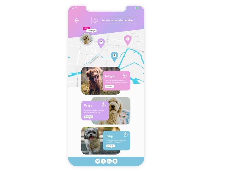Pet app concept - Let's play UI Challenge #020 dailyui20 gps location tracker location app dog app ux ui design dailyui pet design pet