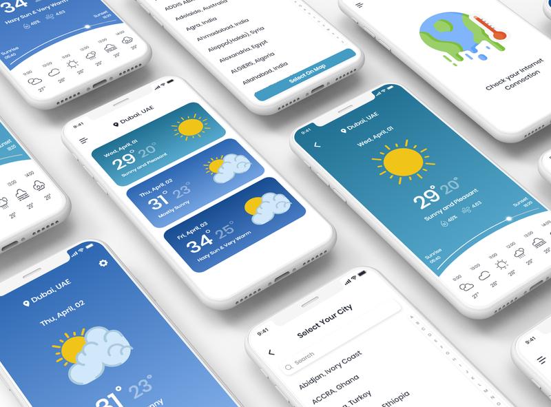 Weather App illustration ui  ux design colors mobile app adobe xd adobe photoshop ux design ui