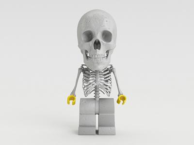 Lego Skull 3d cinema4d skull gray yellow