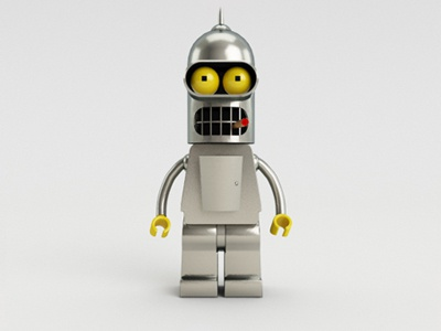 Lego Bender 3d cinema4d bender lego futurama robot metal iron