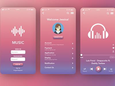 Music App developer webdeveloper vector design sketch uxdesign uidesign musicapp music mobile mobileapp webdesigner userexperiencedesign userexperiance ux ui uiux designer webdesign