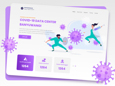 Covid Data Center Banyuwangi app modern daily ui uiux ui design app web design website web design hero section purple corona virus covid-19 app design ux design adobe xd landing page design ux dailyui ui