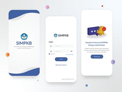 SIMPKB Mobile App onboarding login page notification mockup blue clean ui clean mobile mobile design app design design app ui app ui uiux uidesign uxdesign adobe xd application modern