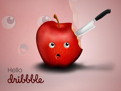 Aple and Knife 3d hello dribbble debut apple apple design firstshot manipulation 3d art illustration