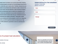 Landing Page for local heating and air company