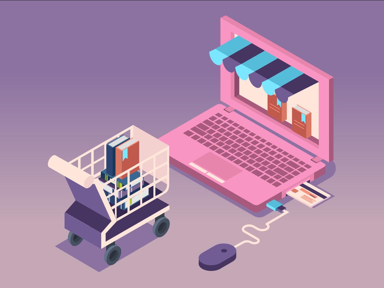 buy goods online 插画、ui