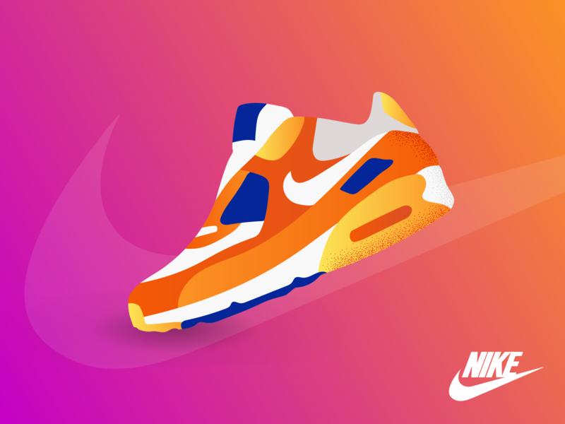 Unofficial Nike Air Max Digital Poster colorful shoes unofficial digital nike nike air max color adobe app website vector ui minimal illustrator illustration flat design