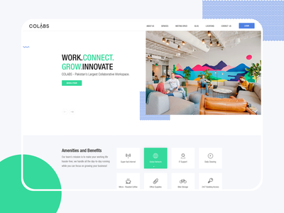 Colabs colorful dark colabs concept rental creative clean minimal white user experience typography branding uiux dashboard website design desk working space