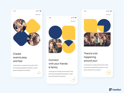 Festful - Mobile App mobile ux graphic ui design onboarding fastival creative branding vector typography event booking virtual party blue yellow interface color product app