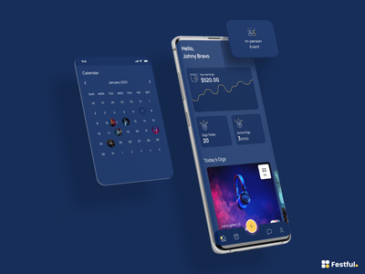 Festful - Mobile App interaction interface home blue icon vector creative user experience graph chart graphic designer dashboard design dashboard app dashboard branding ui