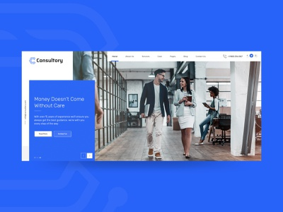 Consultory theme user interface product design insurance investment finance law firm analytical advisor blue creative typography minimal website web ux user experience ui ui concept