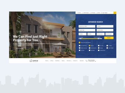 Castle - Real Estate web design web real estate agent real estate user experience icon user interface ux branding blue typography logo website creative clean design graphic typogaphy uidesign ui