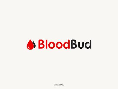 BloodBud - Logo Design donation blood gif design color clean character brand red black badge art android mobile app icon vector illustration branding logo