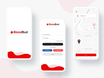 Blood Bud app logo branding illustration vector icon mobile android art badge black red brand character clean color design gif blood donation