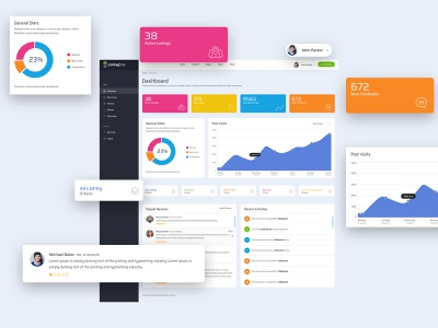 Listing Star - Dashboard user experience design andriod app clean website logo typography minimal ux design ux userinterface ui web graphic graph directory analytic dashboard