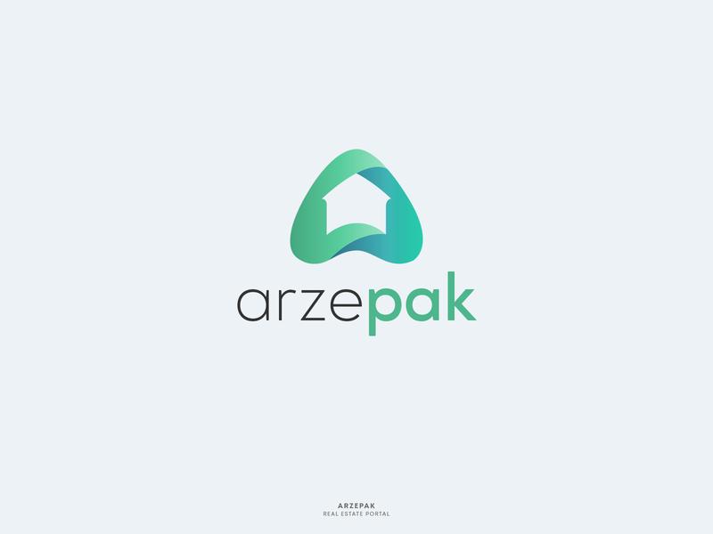 Arzepak Logo mark agent real estate identity animation startup minimal house flat clean typography icon vector illustration gradient zillow branding logo graphic graphics
