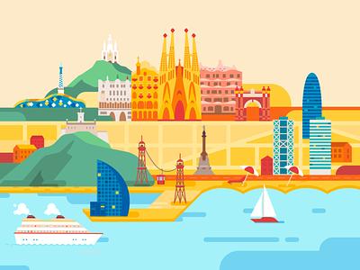 Barcelona sea illustration building map colorful sagrada familia catalonia spain travel flat city vector