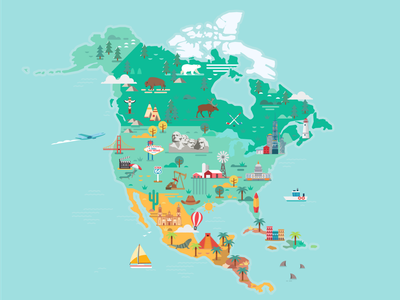 North America Map mexico north america america usa skyline flat city travel colorful vector