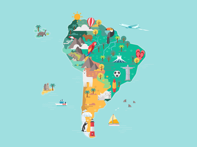 South America map flat animals brasil exotic south america illustration building skyline city travel colorful vector