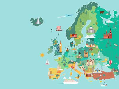 Map of Europe illustration world map europe skyline flat city travel colorful vector