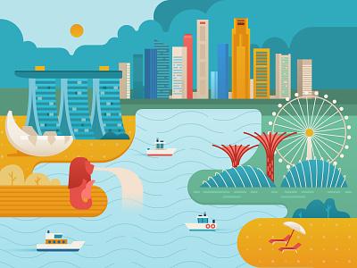 Singapure skyline flower dome merlion marina bay vector colorful travel city